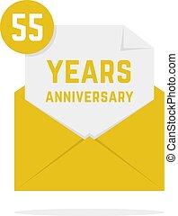 55 years anniversary missive in golden envelope