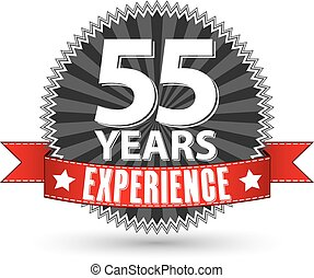 55 years experience retro label with red ribbon, vector illustration