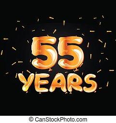 55 years golden anniversary logo celebration