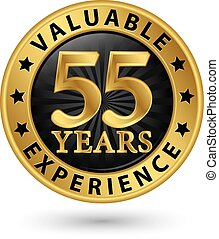 55 years valuable experience gold label, vector illustration