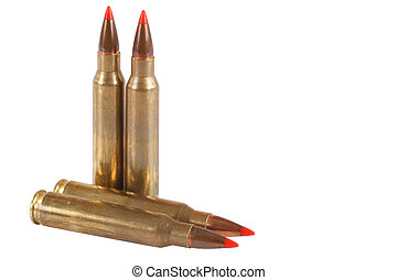 5.56×45mm NATO  intermediate cartridge isolated on white