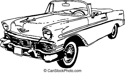 56 chevrolet convertible, black and white pen drawing vector