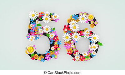 """56."""", floral, animation, """"numerical, chiffre"""