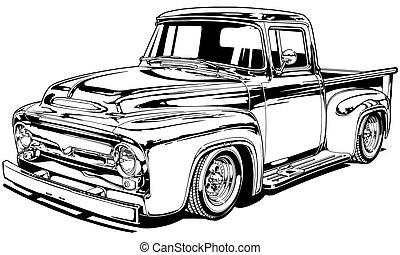 56 Vintage Custom Pickup - Black Line Illustration