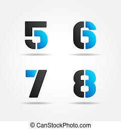 5678, azul, estêncil, números, 3d