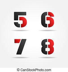 5678, estêncil, números, vermelho, 3d