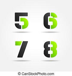 5678, estêncil, verde, números, 3d