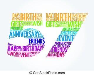 57th, aniversário, palavra, nuvem, feliz