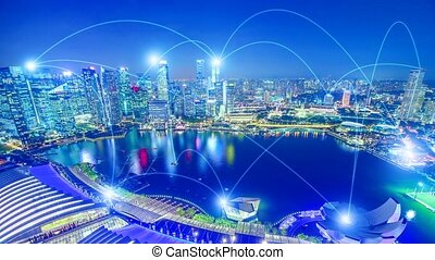 5G and WIFI connection skyline - The concept of digital wifi...