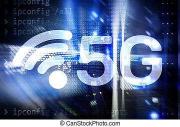 5G Fast Wireless internet connection Communication Mobile Technology concept.