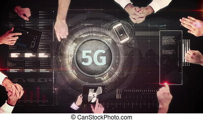 5g, gens, discuter, bouton, business, statistiques