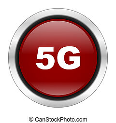 5g icon, red round button isolated on white background, web design illustration