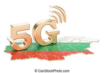 5G in Bulgaria concept, 3D rendering