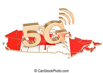 5G in Canada concept, 3D rendering