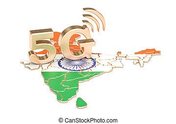 5G in India concept, 3D rendering
