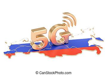 5G in Russia concept, 3D rendering