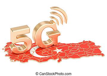 5G in Turkey concept, 3D rendering