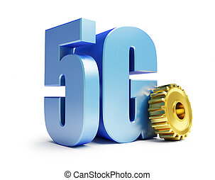 5G internet golden gears 3D illustration, 3D rendering