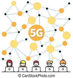 5G Internet High-speed. Social Media Networking Technology Website. People with Laptop Communicating Online. Cartoon Flat Vector Illustration