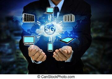 5G Internet network concept - Internet 5G broadband wireless...