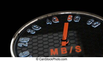 5G internet speed concept animation. Futuristic speedometer...