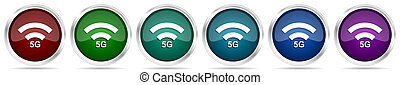 5G internet wireless communication, network icons, set of silver metallic glossy web buttons in 6 color options isolated on white background