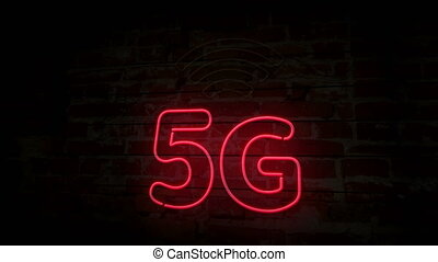 5G neon symbol on brick wall. Light bulbs with 5th...