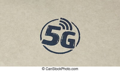 5G network stamp and stamping animation