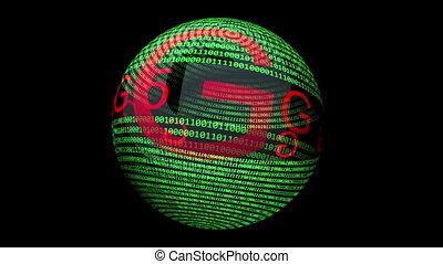 5G on binary data rotating sphere