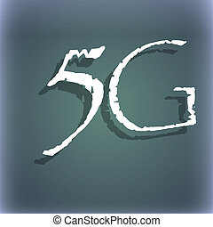 5G sign icon. Mobile telecommunications technology symbol. On the blue-green abstract background with shadow and space for your text.