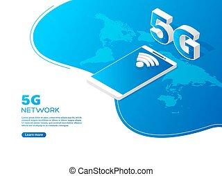 5g, technologie, concept., réseau