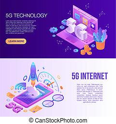 5G technology banner set, isometric style