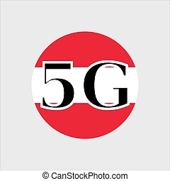 5G technology in Austria . Circle button icon with flag of Austria. Vector illustration.