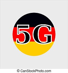 5G technology in Germany . Circle button icon with flag of Germany. Vector illustration.