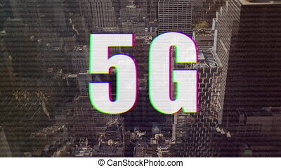 5G text against cityscape in background - Animation of a ...