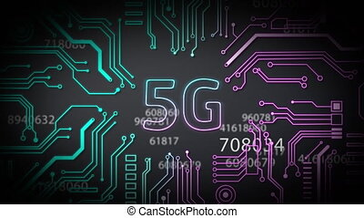 Animation of digital interface with icons and data processing. Global computer network technology 5G concept digitally generated image.