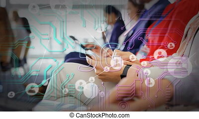 Animation of 5G digital interface with network of connections and icons over people using electronic devices. Global connection network technology concept digitally generated image.