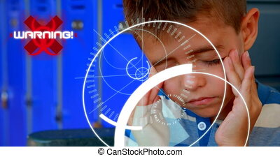 Animation of 5G text with circles and scopes scanning over sick boy massaging his temples in the background. Global coronavirus pandemic concept digitally generated image.