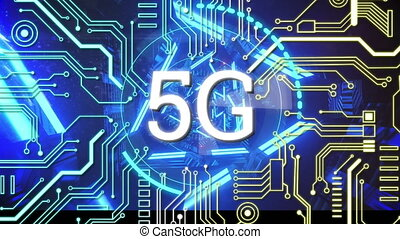 Animation of digital interface with 5G network of connections and scope over glowing circuit board. Global technology and network of connections concept digitally generated image.