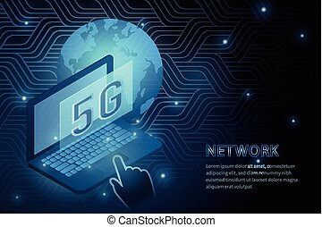 5G wifi technology and laptop global earth geometry cross frame line vector futuristic illustration template background with glowin