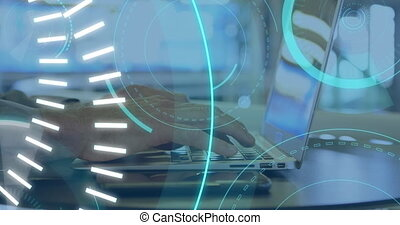 Digital animation of futuristic circles moving around 5G with background of a man using a laptop 4k