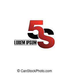 5s, simple, lettre, logo.
