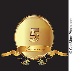5th anniversary birthday seal in gold design with bow icon vector (kid birthday celebration)
