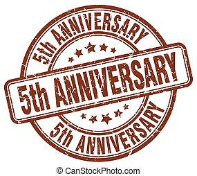 5th anniversary brown grunge stamp