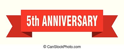 5th anniversary ribbon. 5th anniversary isolated sign. 5th anniversary banner