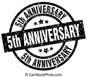 5th anniversary round grunge black stamp