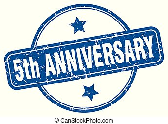 5th anniversary round grunge isolated stamp