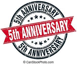 5th anniversary round grunge ribbon stamp
