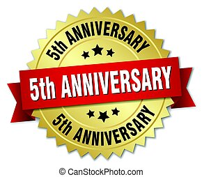 5th anniversary round isolated gold badge