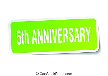 5th anniversary square sticker on white
